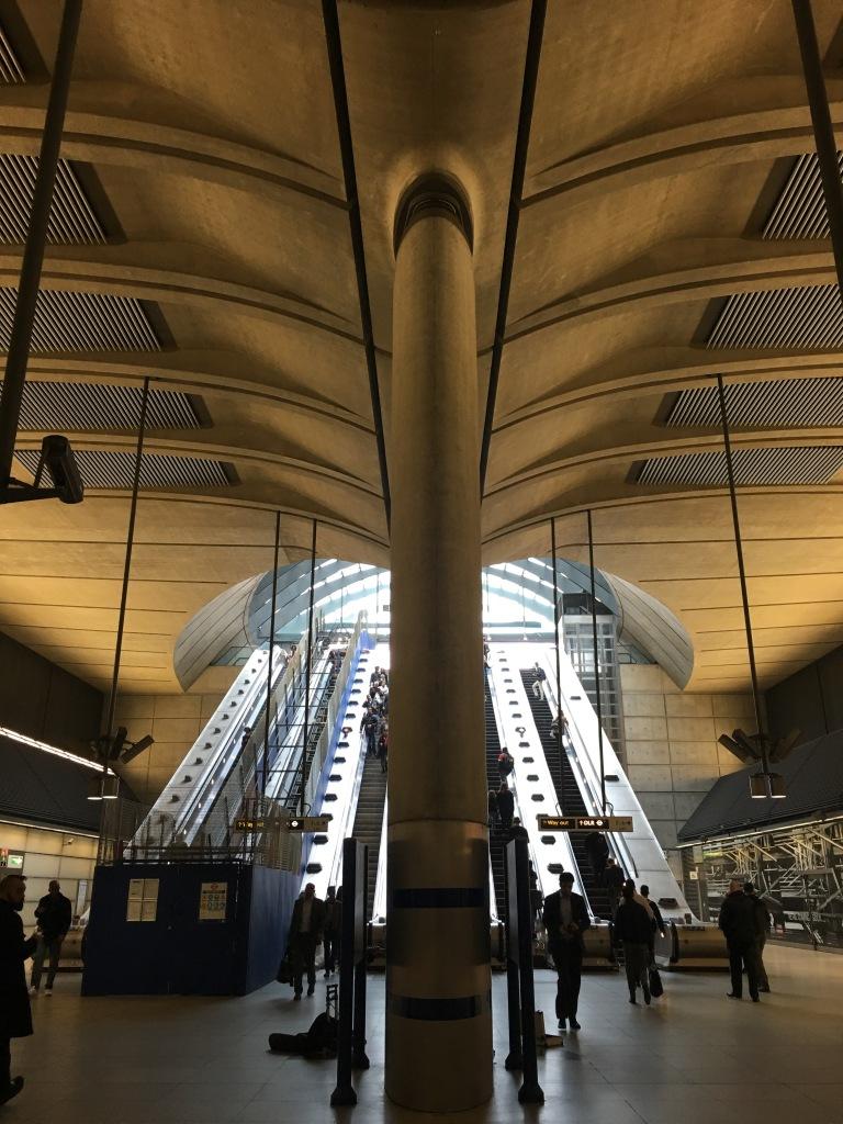 Inside Canary Wharf underground tube station.